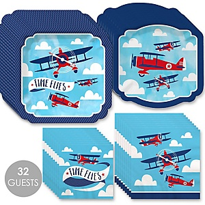 Taking Flight - Airplane - Vintage Plane Baby Shower or Birthday Party Tableware Plates and Napkins - Bundle for 32