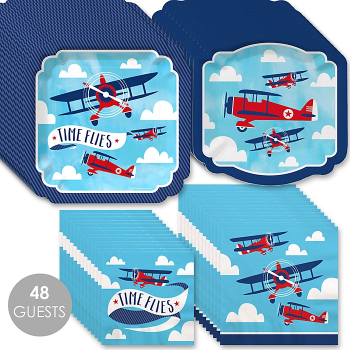 Taking Flight - Airplane - Vintage Plane Baby Shower or Birthday Party Tableware Plates and Napkins - Bundle for 48