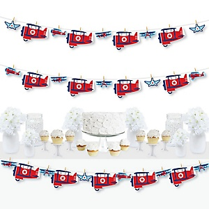 Taking Flight - Airplane - Vintage Plane Baby Shower or Birthday Party DIY Decorations - Clothespin Garland Banner - 44 Pieces