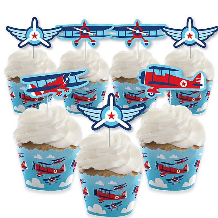 Taking Flight - Airplane - Cupcake Decorations - Vintage Plane Baby Shower or Birthday Party Cupcake Wrappers and Treat Picks Kit - Set of 24