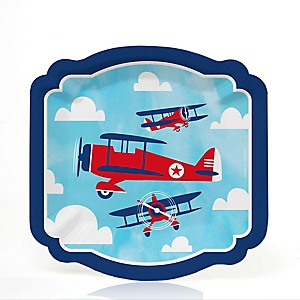 Taking Flight - Airplane - Vintage Plane Baby Shower or Birthday Party Dessert Plates  - 16 ct
