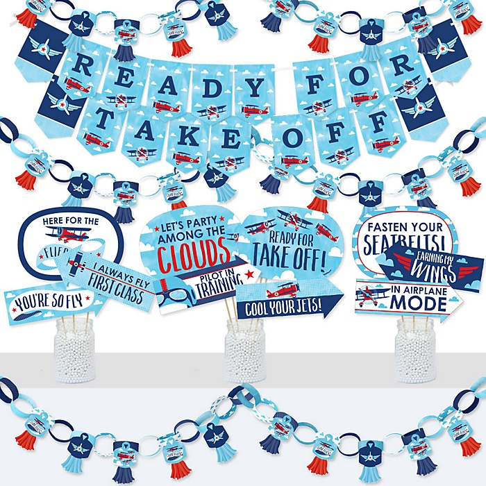 Taking Flight - Airplane - Banner and Photo Booth Decorations - Vintage Plane Baby Shower or Birthday Party Supplies Kit - Doterrific Bundle