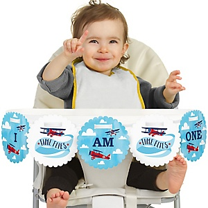 Taking Flight - Airplane 1st Birthday - I am One - First Birthday High Chair Birthday Banner