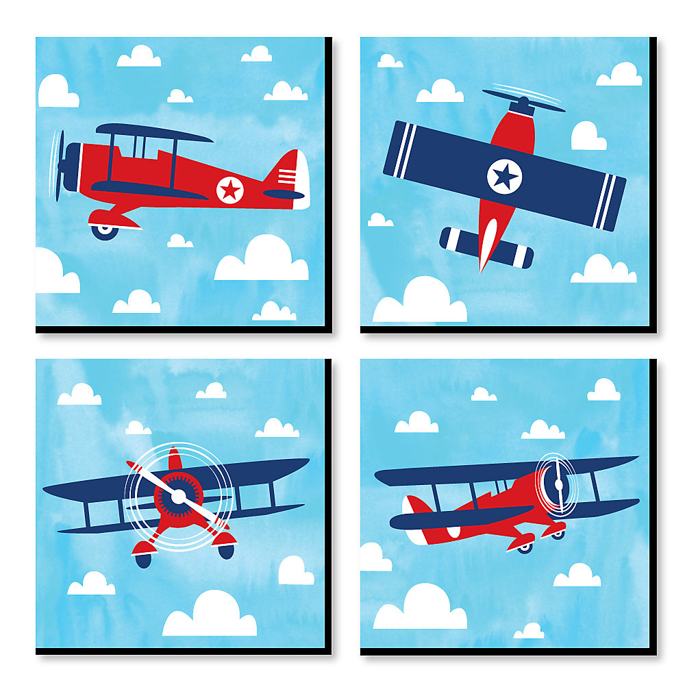 Taking Flight Airplane Vintage Plane Kids Room Nursery Decor And Home 11 X Inches Wall Art Set Of 4 Prints For Baby S