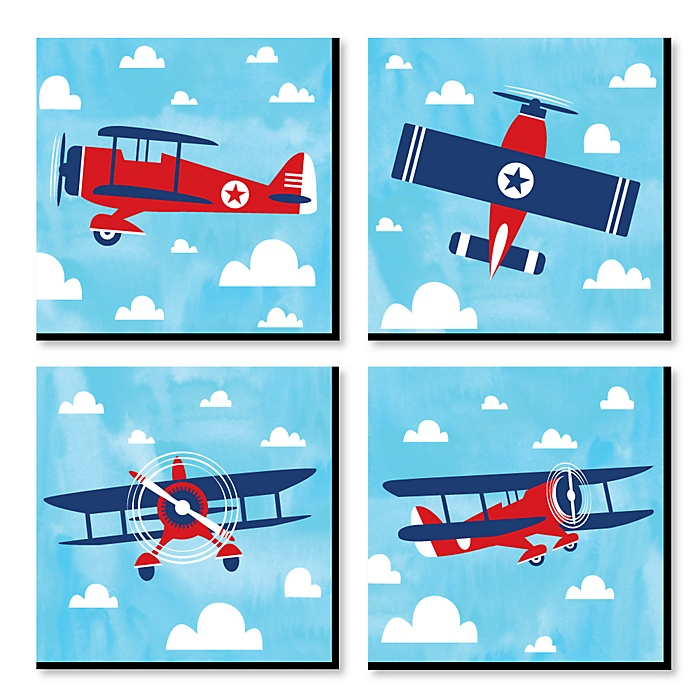 Taking Flight - Airplane - Vintage Plane Kids Room, Nursery Decor and Home Decor - 11 x 11 inches Nursery Wall Art - Set of 4 Prints for Baby's Room