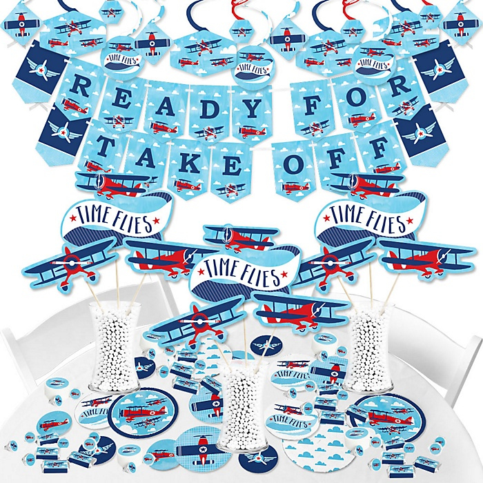 Taking Flight - Airplane - Vintage Plane Baby Shower or Birthday Party Supplies - Banner Decoration Kit - Fundle Bundle