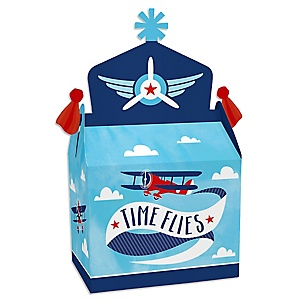 Taking Flight - Airplane - Treat Box Party Favors - Vintage Plane Baby Shower or Birthday Party Goodie Gable Boxes - Set of 12