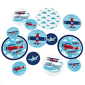 Taking Flight - Airplane - Vintage Plane Baby Shower or Birthday Party Giant Circle Confetti - Party Decorations - Large Confetti 27 Count