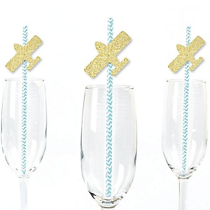 Gold Glitter Airplane Party Straws - No-Mess Real Gold Glitter Cut-Outs and Decorative Baby Shower or Birthday Party Paper Straws - Set of 24