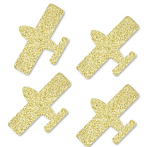 Gold Glitter Airplane - No-Mess Real Gold Glitter Cut-Outs - Baby Shower or Birthday Party  Confetti - Set of 24