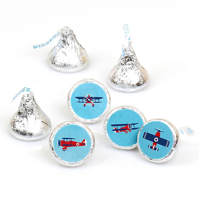 Taking Flight - Airplane - Vintage Plane Baby Shower or Birthday Party Round Candy Sticker Favors - Labels Fit Hershey's Kisses  - 108 ct