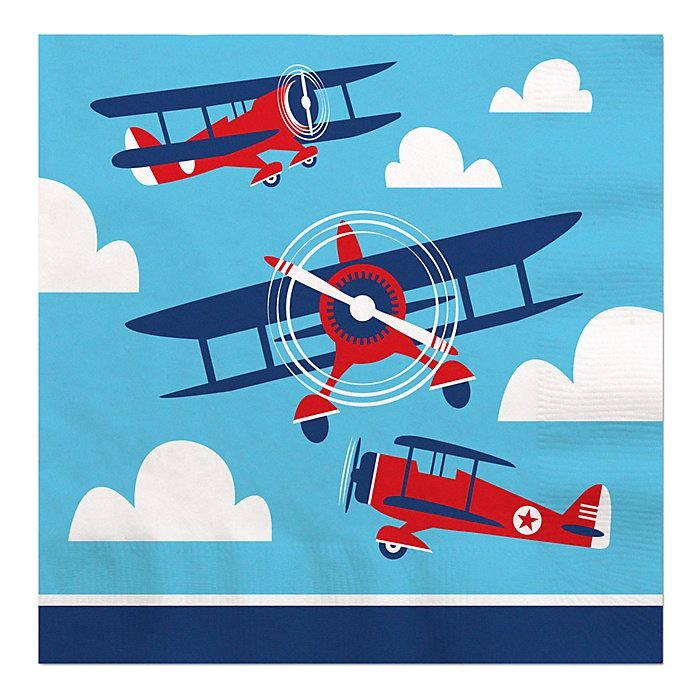 Taking Flight - Airplane - Vintage Plane Baby Shower or Birthday Party Luncheon Napkins - 16 ct