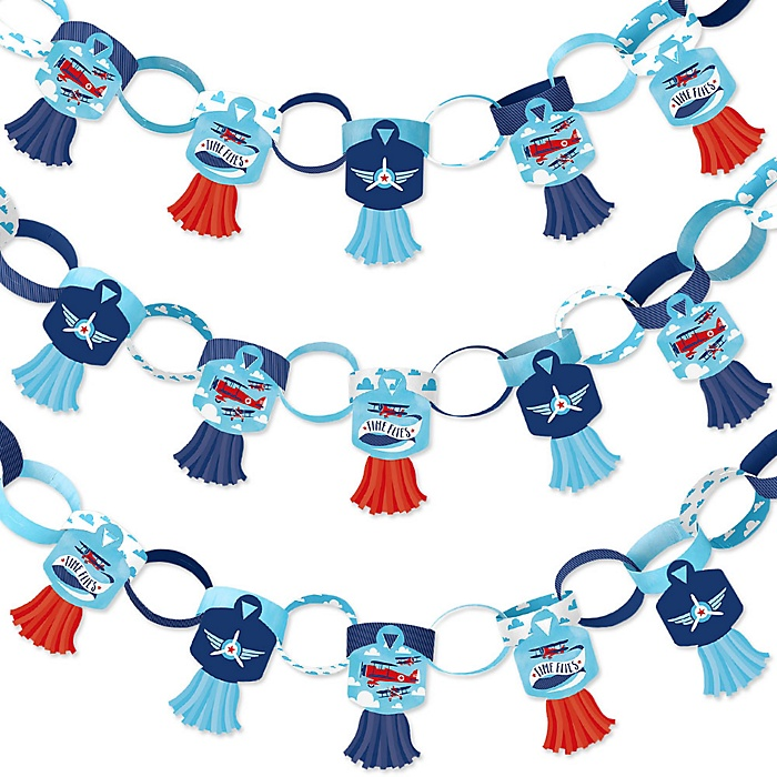 Taking Flight - Airplane - 90 Chain Links and 30 Paper Tassels Decoration Kit - Vintage Plane Baby Shower or Birthday Party Paper Chains Garland - 21 feet