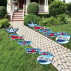 Taking Flight - Airplane - Lawn Decorations - Outdoor Vintage Plane Baby Shower or Birthday Party Yard Decorations - 10 Piece