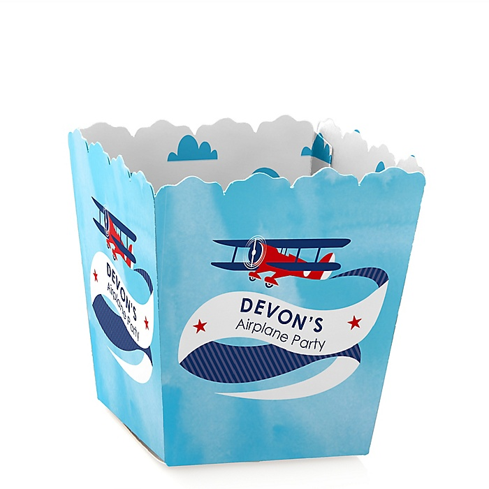 Taking Flight - Airplane - Party Mini Favor Boxes - Personalized Vintage Plane Baby Shower or Birthday Party Treat Candy Boxes - Set of 12