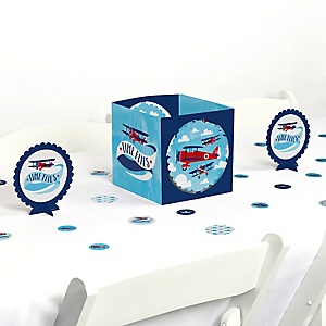 Taking Flight - Airplane - Vintage Plane Baby Shower or Birthday Party Centerpiece and Table Decoration Kit