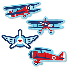 Taking Flight - Airplane - DIY Shaped Vintage Plane Baby Shower or Birthday Party Cut-Outs - 24 ct