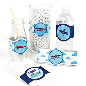 Taking Flight - Airplane - DIY Party Supplies - Vintage Plane Baby Shower or Birthday Party DIY Wrapper Favors & Decorations - Set of 15