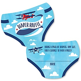 Taking Flight - Airplane - Diaper Shaped Raffle Ticket Inserts - Vintage Plane Baby Shower Activities - Diaper Raffle Game - Set of 24