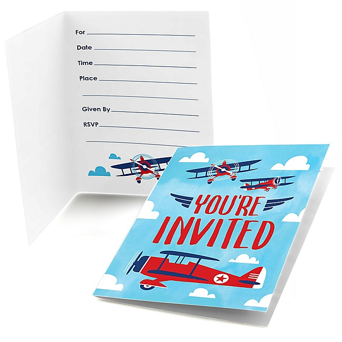 Taking Flight - Airplane - Fill In Vintage Plane Baby Shower or Birthday Party Invitations - 8 ct
