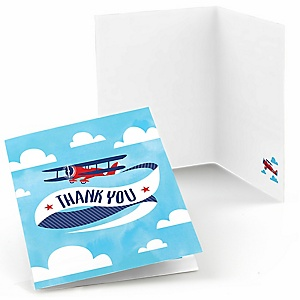 Taking Flight - Airplane - Vintage Plane Baby Shower or Birthday Party Thank You Cards - 8 ct