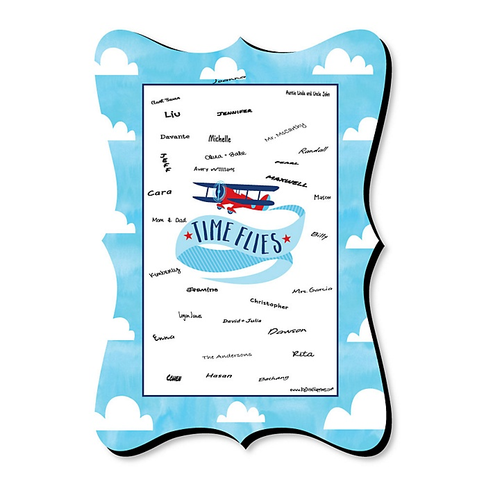 Taking Flight - Airplane - Unique Alternative Guest Book - Vintage Plane Baby Shower or Birthday Party Signature Mat
