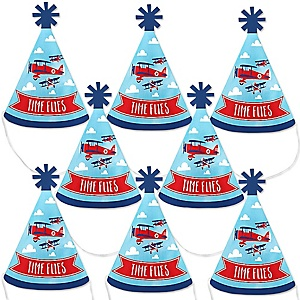 Taking Flight - Airplane - Mini Cone Vintage Plane Baby Shower or Birthday Party Hats - Small Little Party Hats - Set of 8