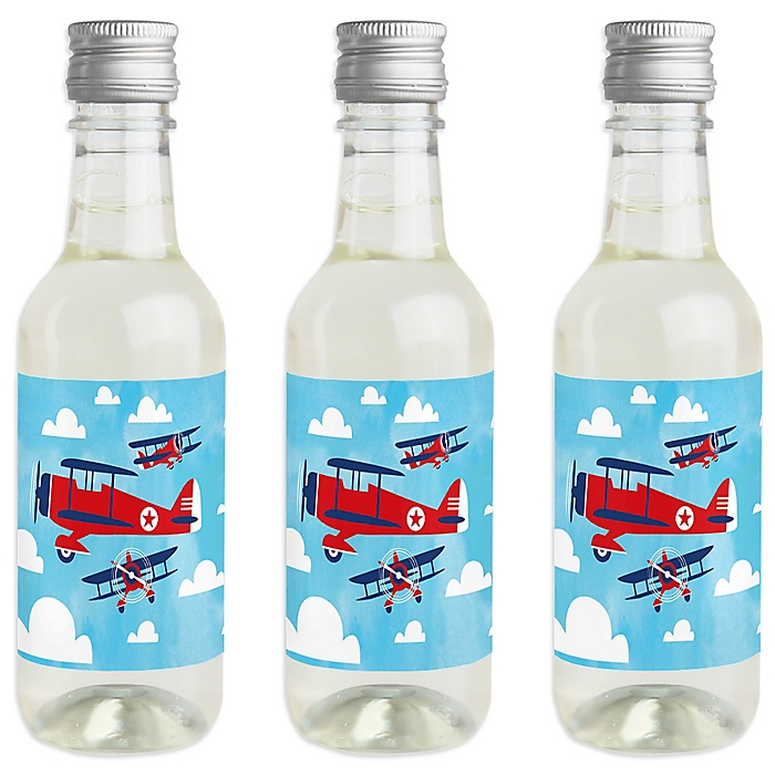Taking Flight - Airplane - Mini Wine and Champagne Bottle Label Stickers - Vintage Plane Baby Shower or Birthday Party Favor Gift for Women and Men - Set of 16