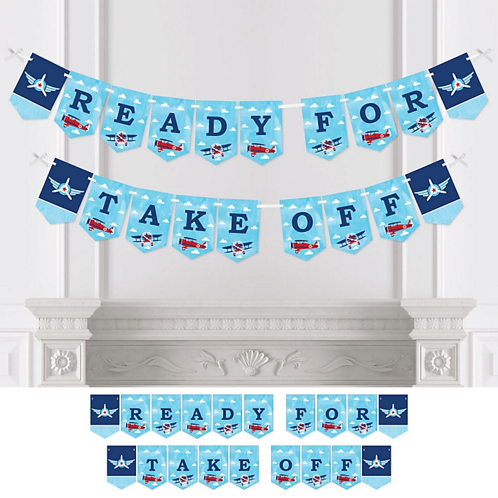 Taking Flight - Airplane - Vintage Plane Baby Shower or Birthday Party Bunting Banner - Party Decorations - Ready for Take Off