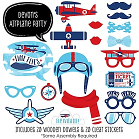Taking Flight - Airplane - 20 Piece Vintage Plane Baby Shower or Birthday Party Photo Booth Props Kit