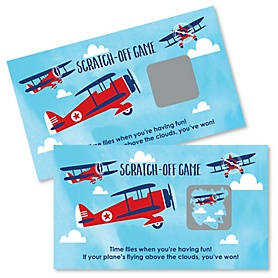 Taking Flight - Airplane - Vintage Plane Baby Shower or Birthday Party Scratch Off Cards - 22 Count