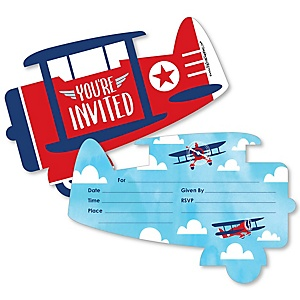 Taking Flight - Airplane - Shaped Fill-In Invitations - Vintage Plane Baby Shower or Birthday Party Invitation Cards with Envelopes - Set of 12
