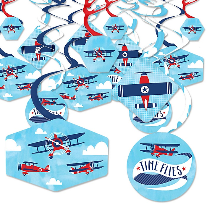 Taking Flight - Airplane - Vintage Plane Baby Shower or Birthday Party Hanging Decor - Party Decoration Swirls - Set of 40