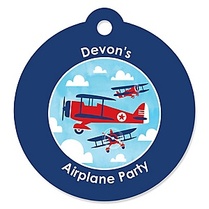 Airplane - Round Personalized Party Tags - 20 ct