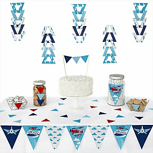 Taking Flight - Airplane -  Triangle Vintage Plane Baby Shower or Birthday Party Decoration Kit - 72 Piece
