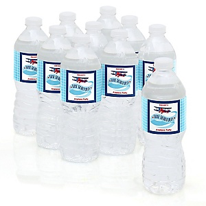 Airplane - Personalized Party Water Bottle Sticker Labels - Set of 10