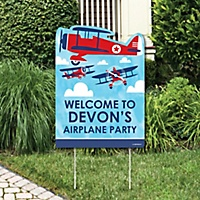 taking flight airplane party decorations vintage plane baby shower or birthday party personalized welcome yard sign