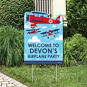 Taking Flight - Airplane - Party Decorations - Vintage Plane Baby Shower or Birthday Party Personalized Welcome Yard Sign