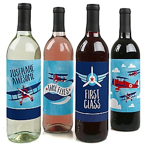 Taking Flight - Airplane - Vintage Plane Baby Shower or Birthday Party Decorations for Women and Men - Wine Bottle Label Stickers - Set of 4