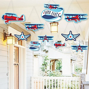 Hanging Taking Flight - Airplane - Outdoor Vintage Plane Baby Shower or Birthday Party Hanging Porch & Tree Yard Decorations - 10 Pieces