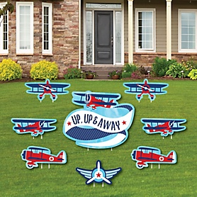 Taking Flight - Airplane - Yard Sign & Outdoor Lawn Decorations - Vintage Plane Baby Shower or Birthday Party Yard Signs - Set of 8