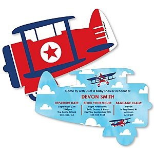 Taking Flight - Airplane - Shaped Vintage Plane Baby Shower Invitations - Set of 12