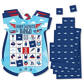 Taking Flight - Airplane - Picture Bingo Cards and Markers - Vintage Plane Baby Shower Shaped Bingo Game - Set of 18