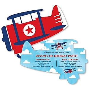 Taking Flight - Airplane - Shaped Vintage Plane Birthday Party Invitations - Set of 12