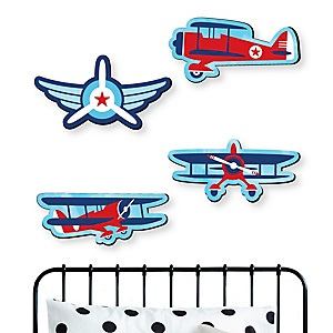 Taking Flight - Airplane - Vintage Plane Baby Boy Nursery and Kids Room Home Decorations - Shaped Wall Art - 4 Piece