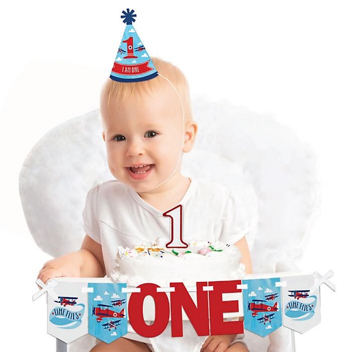 Taking Flight - Airplane 1st Birthday - First Birthday Boy Smash Cake Decorating Kit - High Chair Decorations