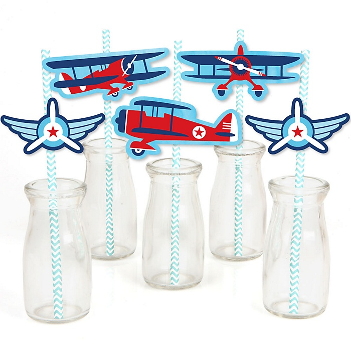 Taking Flight - Airplane - Paper Straw Decor - Vintage Plane Baby Shower or Birthday Party Striped Decorative Straws - Set of 24