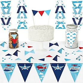 Taking Flight - Airplane - DIY Pennant Banner Decorations - Vintage Plane Baby Shower or Birthday Party Triangle Kit - 99 Pieces