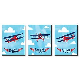 Taking Flight - Airplane - Kids Bathroom Rules Wall Art - 7.5 x 10 inches - Set of 3 Signs - Wash, Brush, Flush