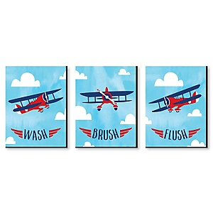 Taking Flight - Airplane - Kids Bathroom Rules Wall Art - 7.5 x 10 inches - Set of 3 Signs - Wash, Brush, Flush